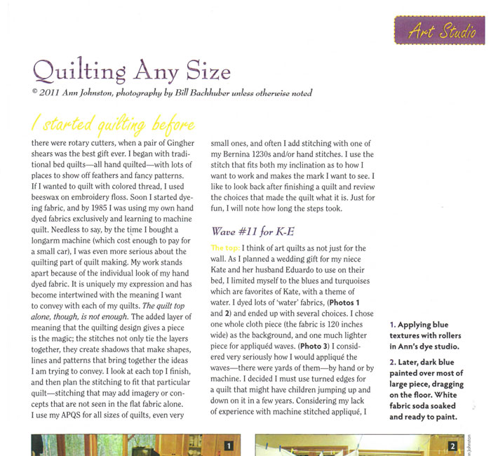 Machine Quilting Unlimited Article
