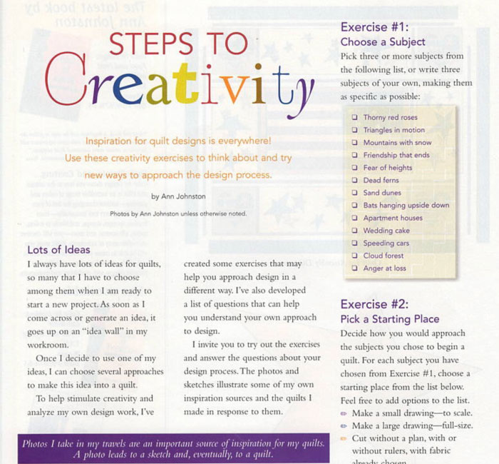 Steps to Creativity